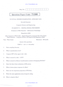 IT6502 Digital Signal Processing Previous Year Question