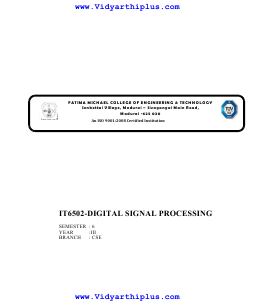 IT6502 Digital Signal Processing Lecture Notes (All Units)
