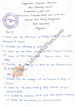 Ge6757 Total Quality Management May June 2016 Important