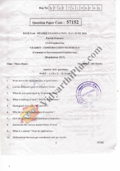 CE6401 Construction Materials May June 2016 Question Paper