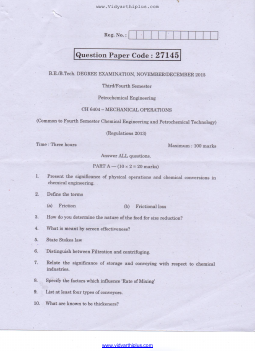Petrochemical Engineering - Question Papers