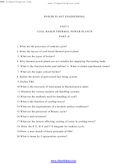 ME6701 Power Plant Engineering Important Question