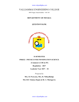 PH8252 PHYSICS FOR INFORMATION SCIENCE QUESTION BANK - VEC EDITION