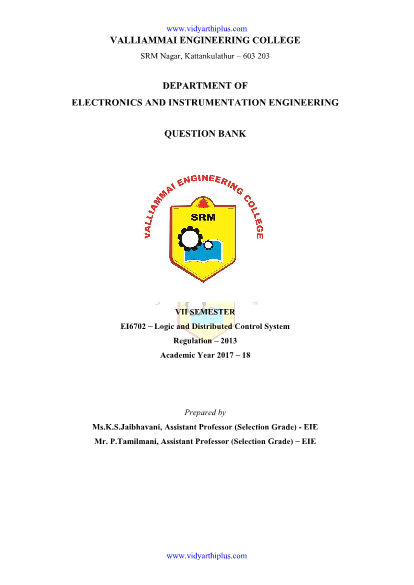 EI6702 Logic and Distributed Control System Question Bank