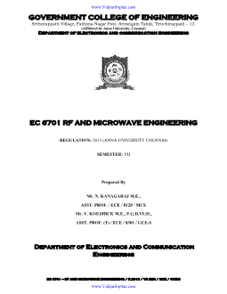 EC6701 RF And Microwave Engineering Important Two Mark and